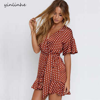 yinlinh Red Polka Dot Summer Dress Short Sleeve V Neck Sexy Mini Dress Women Sash Slim Waist Irregular Ruffles pea Vestidos  304 - DISCOUNT ITEM  50% OFF All Category