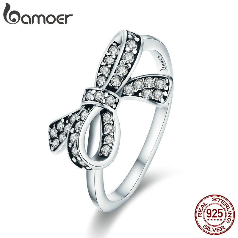 BAMOER Trendy Authentic 925 Sterling Silver Finger Trendy Bowknot 3 Size Wedding Rings for Women Engagement Jewelry SCR346 недорого
