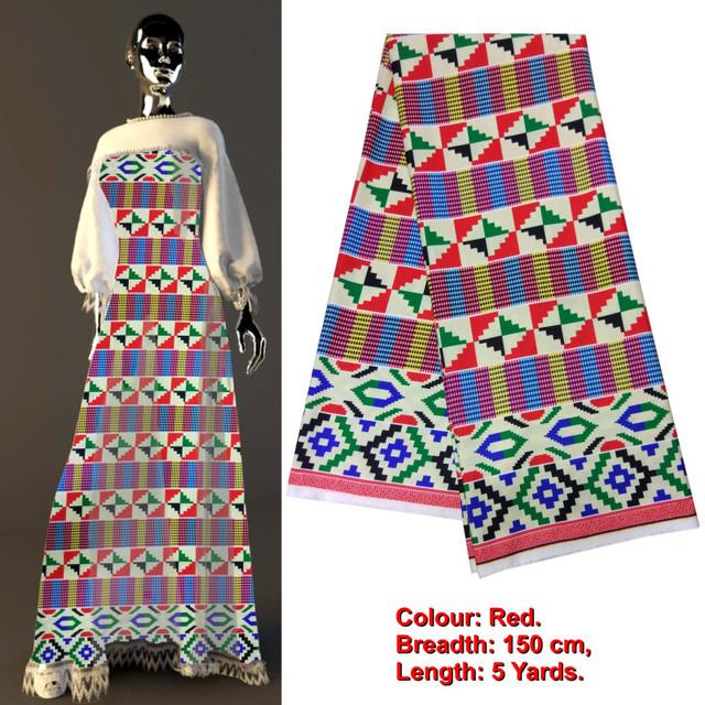 African Kente Silk Satin High Quality Digital Print Fabric 5yard