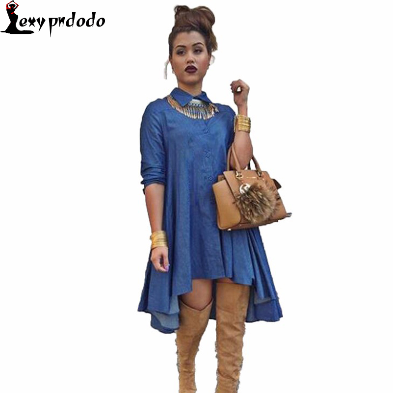 Spring Long Irregular Denim Shirt Dresses Sexy Fashion Long-sleeved Bandage Plurality of buttons Loose solid Women Dress Summer