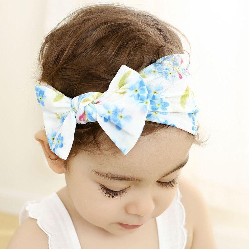 Good Quality New Baby Headband Newborn Kids Floral Print Nylon Headbands Knotted Hair Bows Headband Baby Children Girls Headwear