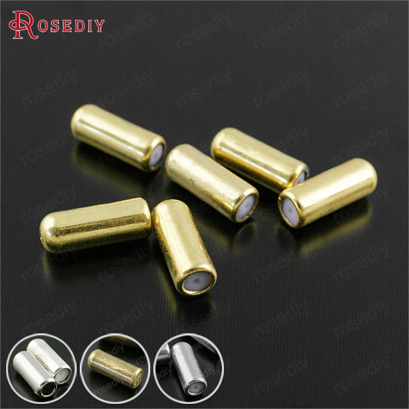 (29919)50PCS 10.5x4MM Gold Color Plated Brass and Rubber Hat Pin and Brooch Pins Stopper Diy Jewelry Findings Accessories