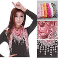 Ladies Lace Embroidery Sheer Metallic Triangle Scarf Shawl Tassel Wrap 10 Color Lace Scarves