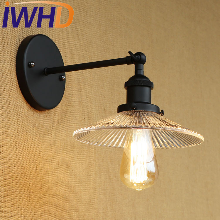 IWHD Iron Arm Sconce Wall Lighting Black Vintage Glass Lamparas De Pared Loft Wall Lamp Vintage Industrial Led Bedroom Light тачка садово строительная 78л grinda 8 422395 z01