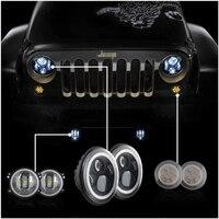 Угол Глаза Комплект 7 дюймов светодиодные фары с 4 дюймов светодиодный фонарь + янтарный передняя решетка сигнал поворота для Wrangler unlimited JK 4 д