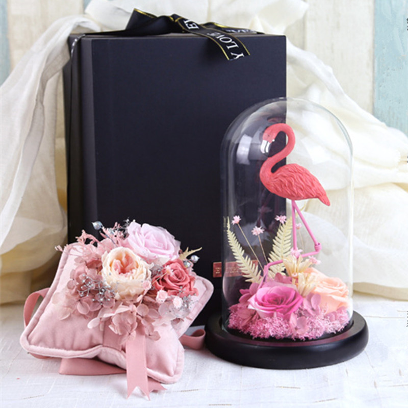 Eternal Forever Rose With Flamingos Glass Cover Finished Valentine's Day Anniversary Birthday Gift Christmas Home Decoration