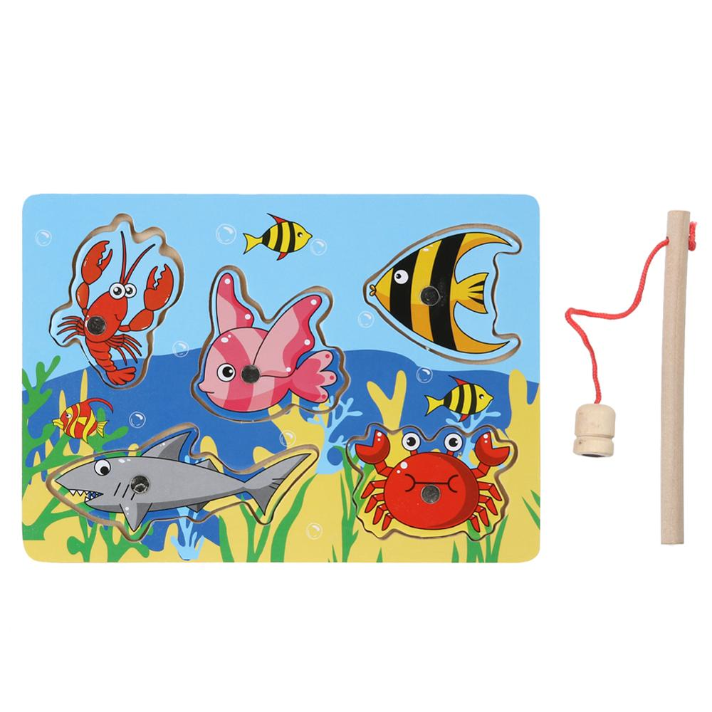 Baby Kid Wooden Magnetic Fishing Game 3D Jigsaw Puzzle Toy Interesting Baby Children Educational Puzzles Toy Gift