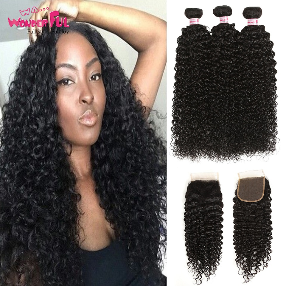 Joedir Peruvian Hair 3 Bundles Curly Hair With Closure Non Remy Kinky - Skönhet och hälsa
