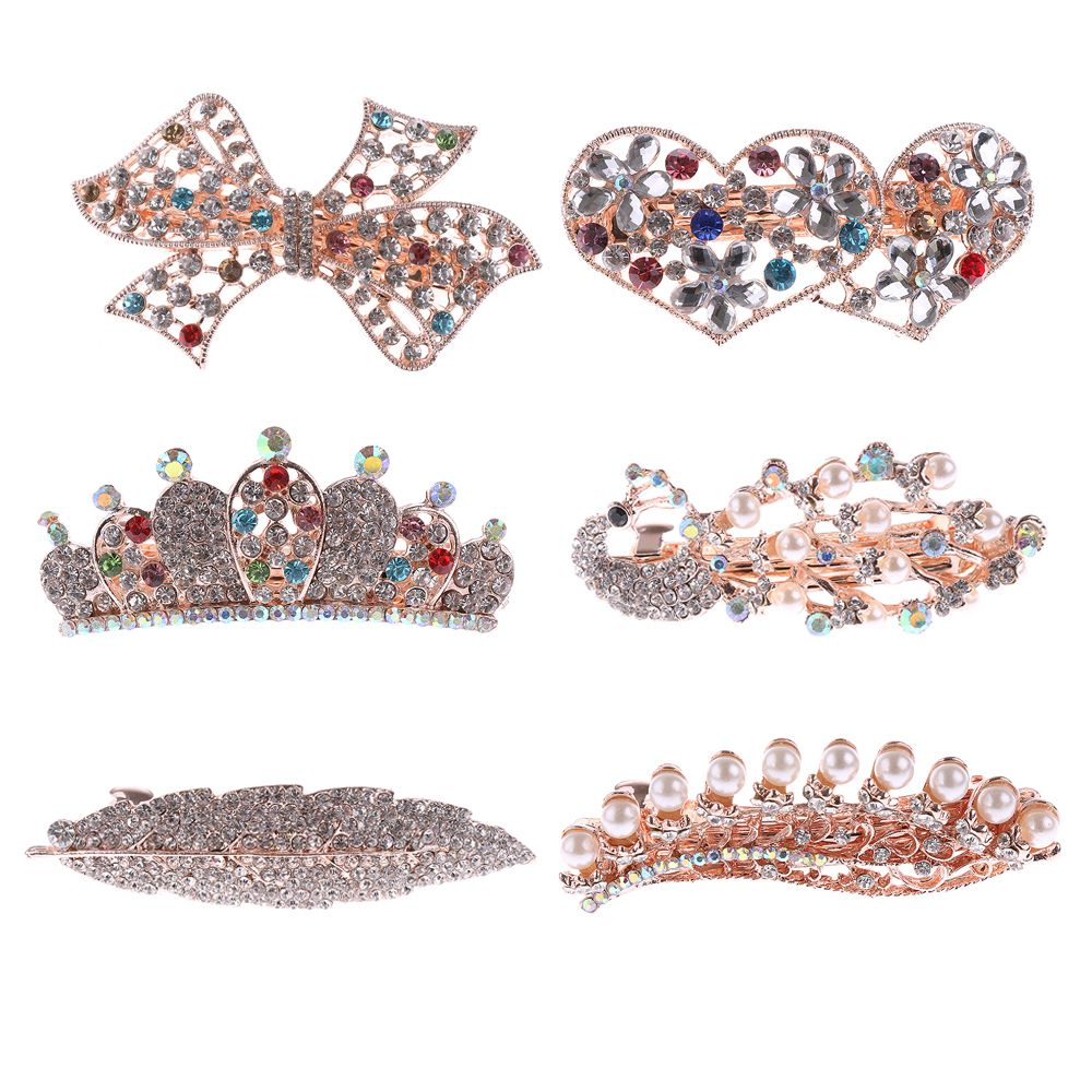 1PC Popular Fashion Women Girl Crystal Drill Barrette Heart  Peacock Crown Butterfly Barrettes Party Hair Clip Hair Accessories halloween party zombie skull skeleton hand bone claw hairpin punk hair clip for women girl hair accessories headwear 1 pcs