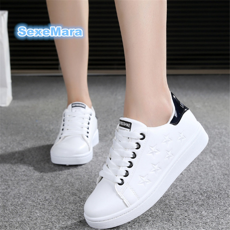 2017 Women Shoes hot sale Leather Casual shoes Outdoors Flat shoes Star White shoes Force zapatillas mujer casual tenis feminino shoes men leather 2017 ms casual shoes low help white black flat leisure fashion female superstar shoes tenis feminino mujer