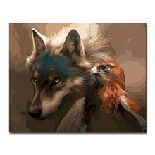 PENGDA Wolf Eagle Ferocious Painting By Numbers Animals Oil