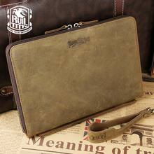 Ruil fashion men retro wallet Genuine leather Messenger Bag zipper purse famous brand wallet iPad bag free shipping
