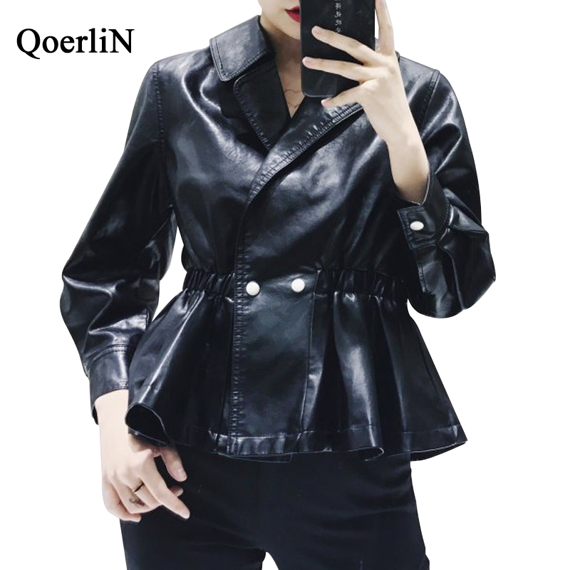QoerliN Harajuku PU   Leather   Jacket Coat Women 2018 Autumn Winter Fashion Street Wear Outwear Girls Black Overcoat New Arrivals