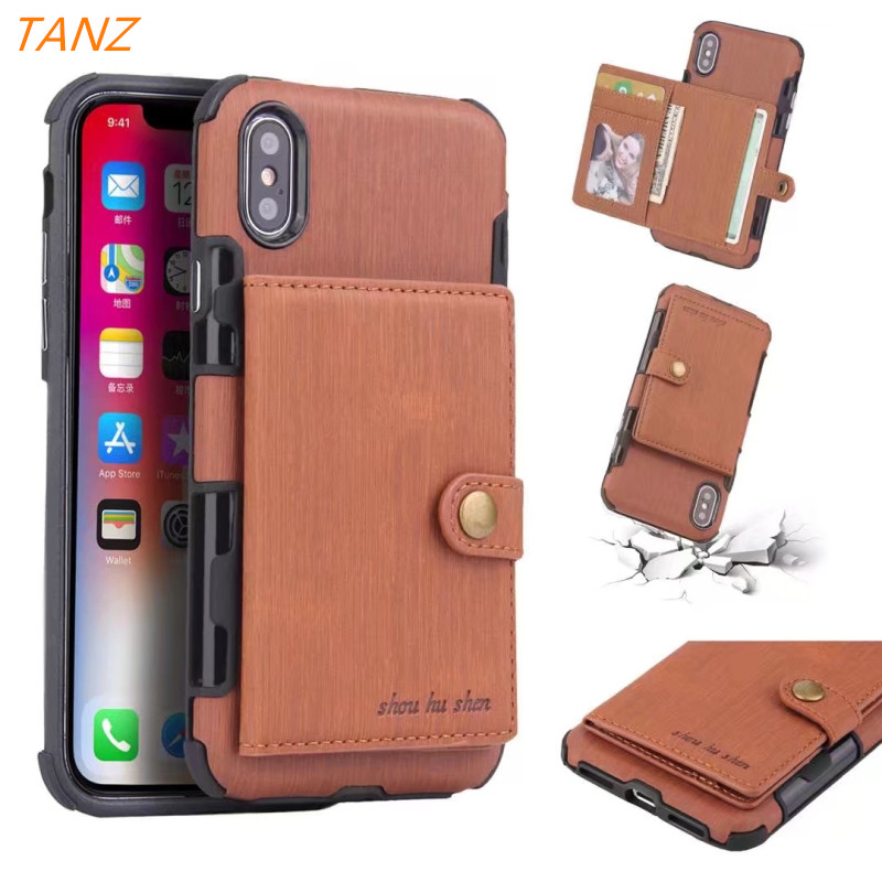 TANZ Wallet Leather Phone Case For iPhone 6 X 8 7 Plus Flip Phone Case Luxury Cove For Samsung S8 S9 PLUS note8 Armor Card Cases
