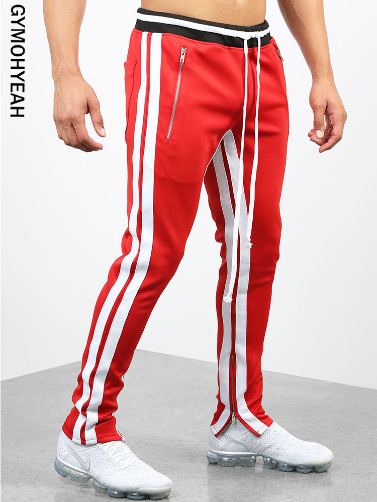 GYMOHYEAH NEW Stripe Print Sweatpants Streetwear Men's Elastic Waist Track Pants GYMS Force Jogger Trousers Male Casual Pants