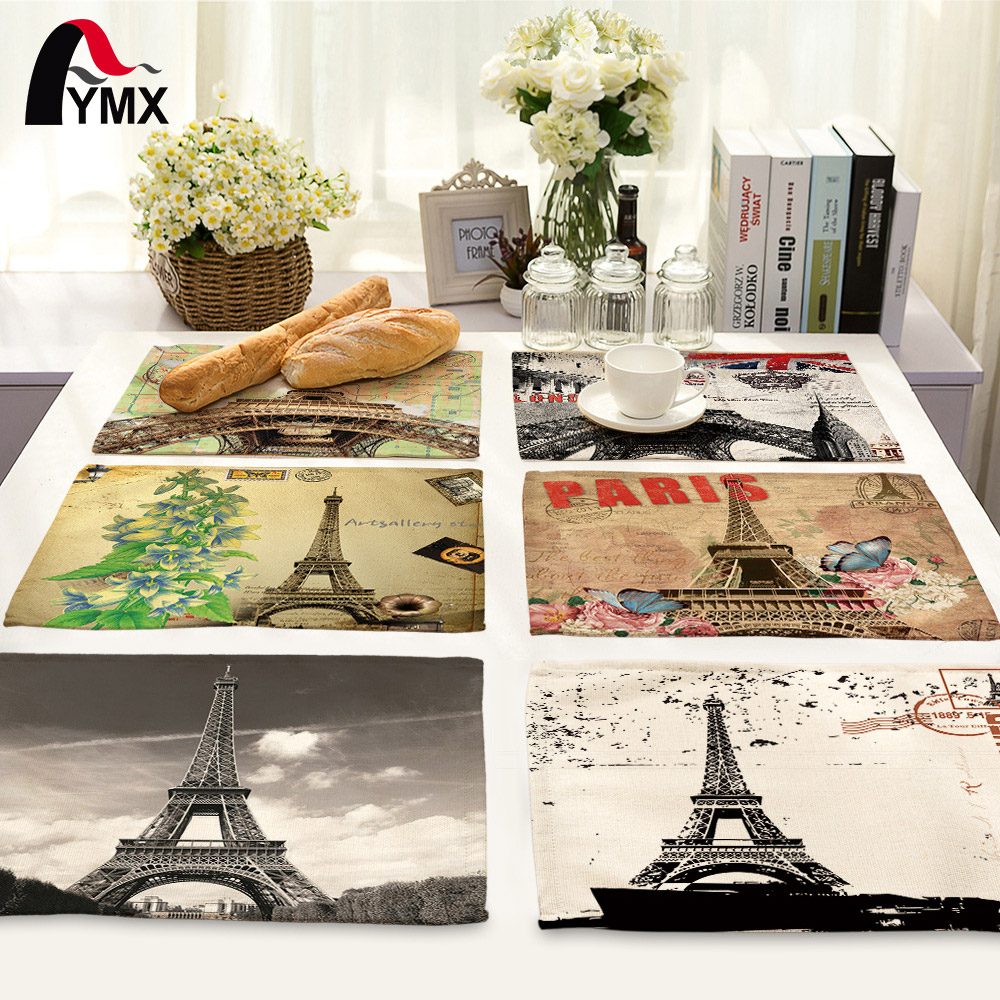 Paris Eiffel Tower Table Napkins for Wedding Party Polyester Table Napkin Cloth Western Dinner Mat Home Textile Europe Decor