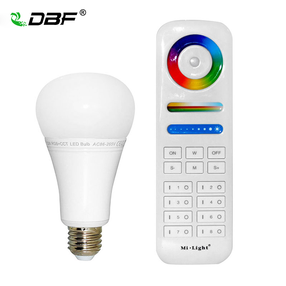 DBF MiLight FUT105 E27 12W RGB+CCT LED Bulb 110V 220V Wireless 2.4G Bulb Dimmable 2 in 1 Smart LED Light Work With 8-Zone Remote mi light fut105 2 4g 12w rgb cct wireless e27 led bulb dimmable 2 in 1 smart led light fut092 4 zone 2 4g rf remote