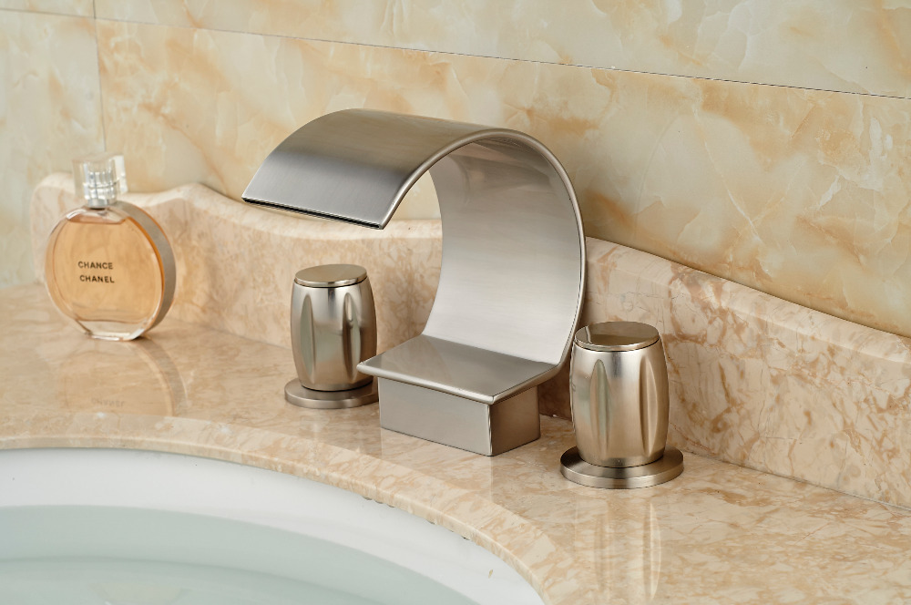 Great promotional activities Brushed Nickel Finish Deck Mounted Bathroom Waterfall 3 Holes Bathtub Faucet Mixer Tap цена