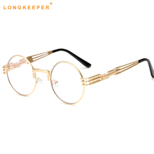 Round Steampunk Clear Lens Sun Glasses For Women Alloy Frame Retro Vintage Sunglasses Mens Brand Designer Round Sunglasses Women