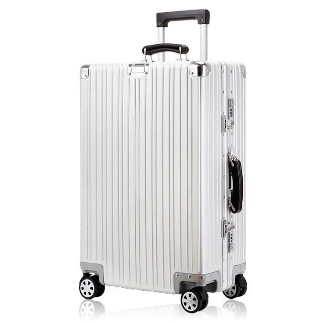 "Aluminium magnesium alloy trolley luggage,20"" 24"" 28""ultra quality full aluminum hardside trolley luggage on universal wheels"