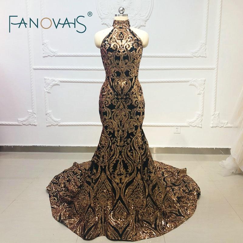 Black and Gold   Evening     Dresses   Halter   Evening   Gown Sequin Prom   Dresses   Vestido De Fiesta Robe De Soiree Backless Formal   Dress
