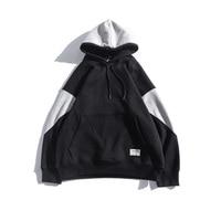 Brand 2017 Fashion Hoodies Mens Stitching Fleece Sweatshirt Loose Hip Hop Moletom Masculino Patchwork Streetwear Hooded