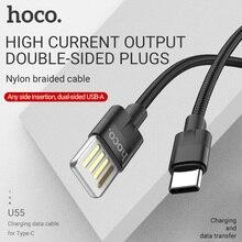 hoco usb type c cable fast charging 2.4a usb c wire for Samsung Xiaomi Android usb-c data sync cord dual sided usb nylon braid аксессуар hoco u40ba usb type c magnetic adsorption grey