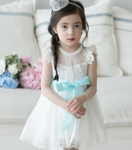 2017 Baby Girl Summer Pearl Gauze Princess Tutu Dresses Children Lace Evening Dress Girls Wedding Party Dress Kids  Clothes цена и фото