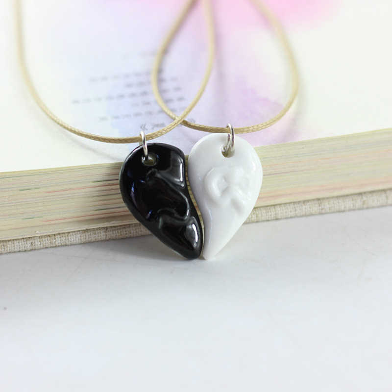Hot!Handmade White Black Half Heart Choker Necklace For Women Men Fashion Adjustable Rope Chain Pendant Necklaces Jewelry Gift
