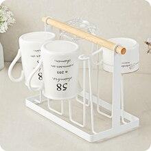 7.4u0027u0027 Coffee Tea Cup Mug Holder Stand Kitchen Cup Holder 6 Mug Wood Handle  Storage Rack Coffee Mug W/6 Hooks White