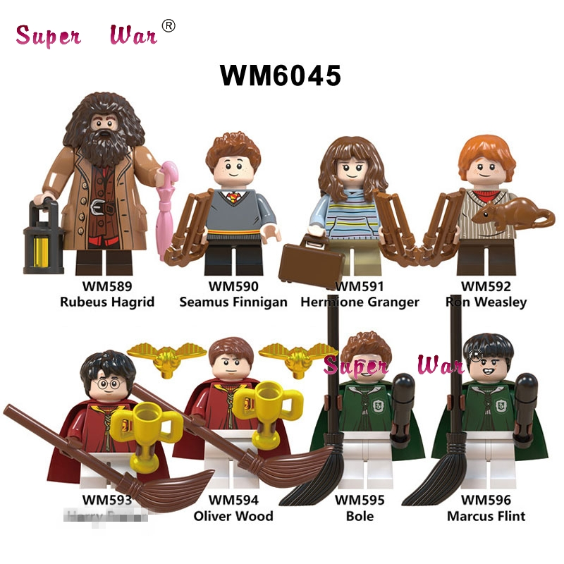50pcs Building Blocks Harry Potter Rubeus Seamus Finnigan Hermione Ron Oliver Wood Bole Marcus for kid