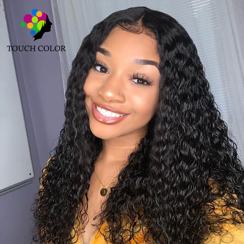 Touch Color Hair 13x6 Lace Frontal 100% Remy Human Hair Kinky Curly Weave 8 26 Inch Brazilian Hair Long Wigs Women 130% Density