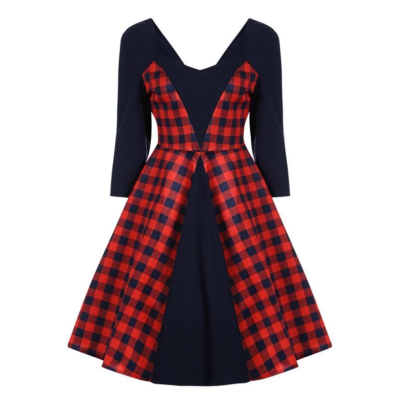 ISHINE Vintage Pleated Summer Dress For Women Lanon Elegant Lace Dresses Robe Femme Ete 2018 Plus-Size XXL Party Vestido Red