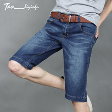 TANLIYINFU Premium Performance Men's Jeans Shorts 2017 New Summer Blue Knee Length jeans man Slim Straight Casual Shorts men