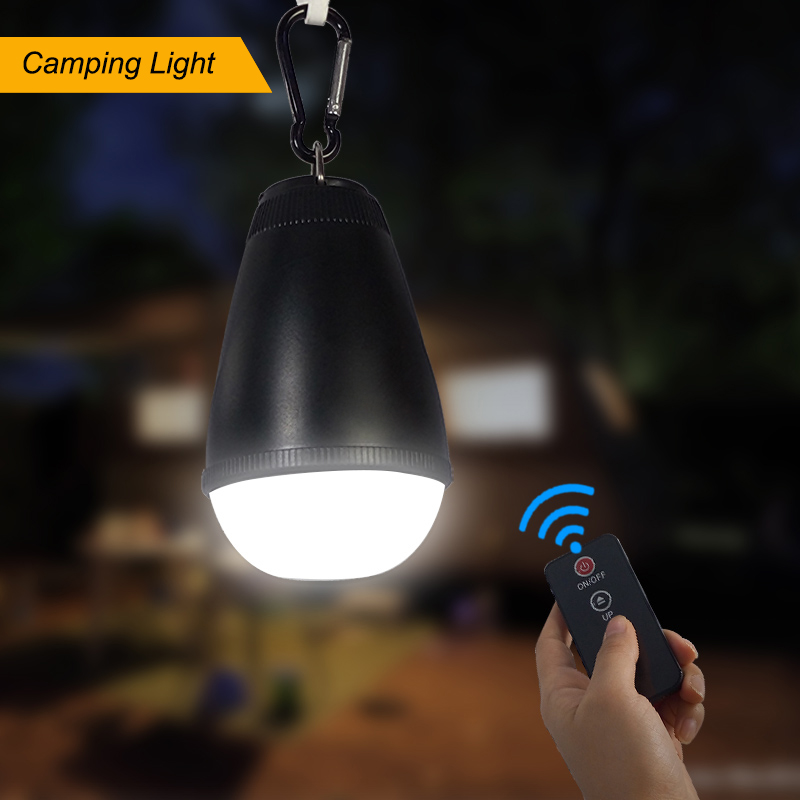 LED Tent Light Camping Emergency Light Portable 10 Meters Wireless Remote Control 3 Levels Dimmable Rain Proof with Hanging Hook