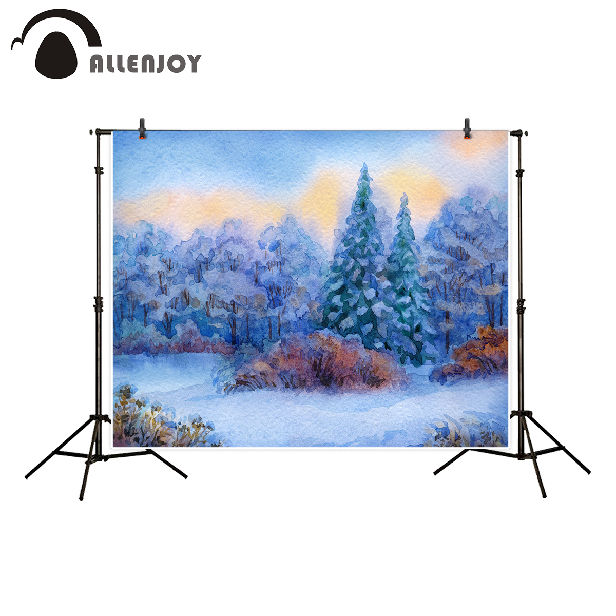 Allenjoy background for photo studio winter watercolor forest snow tree baby shower photography backdrop