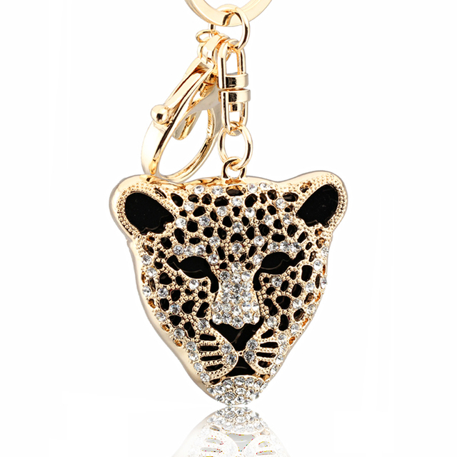 Fashion Men Women plating gold silver chain keychain crystal hollow leopard keychain pendant jewelry gifts