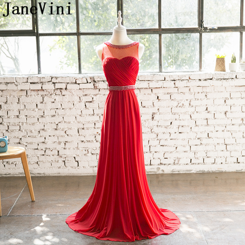 JaneVini 2018 Elegant Red   Bridesmaid     Dresses   Plus Size Sexy Backless Chiffon Long Gowns Ladies Wedding Party   Dress   With Beading