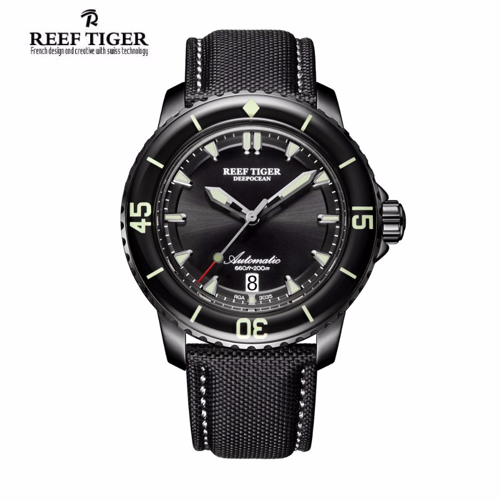 Reef Tiger Super Luminous Automatic Watches for Men Black Steel Nylon Strap Swiss Dive Watch with Date RGA3035