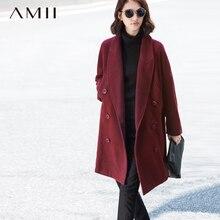 Amii Повседневное Для женщин шерстяные пальто 2017 Зима отложной воротник одноцветное двубортный женский шерсть