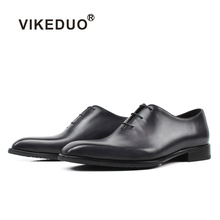 Vikeduo 2019 New Vintage Dress Shoes For Men Gray Genuine Leather Shoe Male Classic Wedding Office Formal Sapatos Zapatos Hombre