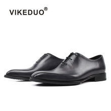 e0170584a Vikeduo 2019 Novo Vestido Sapatos Para Homens Cinza Sapato De Couro Genuíno  Do Vintage Masculino Clássico Escritório de Casament.