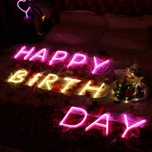 Led Neon Sign Neon Light Holiday Xmas Party Wedding Decor Night Lamp Bar Home Wall Decor 26 Letters Numerals  Light Up Signs yam led cloud neon sign light night lamp w battery box wedding xmas party decor