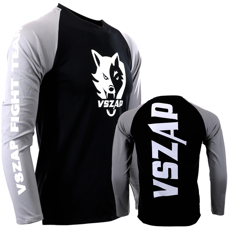 Boxing Training Sweatshirt Elastic Fitness Gym Fightwear Raglan Sweatshirt Muay Thai Breathable Long-sleeve T Shirt Sport Tops