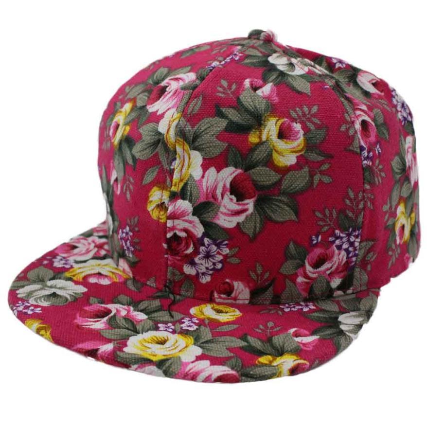 #4 Fashion Rose Flower High Quality Hip-hop Baseball Cap Outdoors Flat Snapback Hat