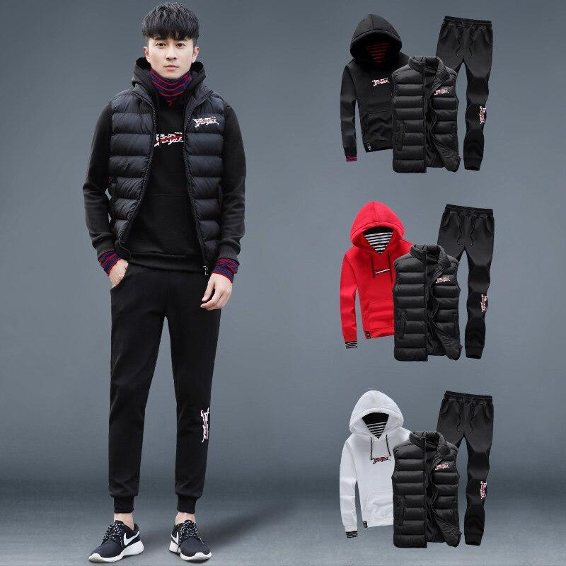 2018 nouveau Sport costume hommes 3 pièces Sportswear gilet à capuche pantalon pour homme vêtements de fitness marque Sport vêtements course ensemble hiver chaud