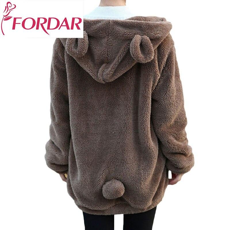 Hot Sale Women Hoodies Zipper Girl Winter Loose Fluffy Bear Ear Hoodie Hooded Jacket Warm Outerwear Coat Cute Sweatshirt Hoody