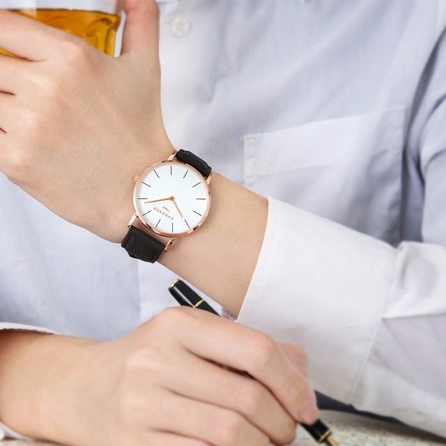 CHRONOS 1898 Unisex Watches Luxury Mens & Women Watch Rose Gold Leather Quartz Wristwatches Relogio Masculino