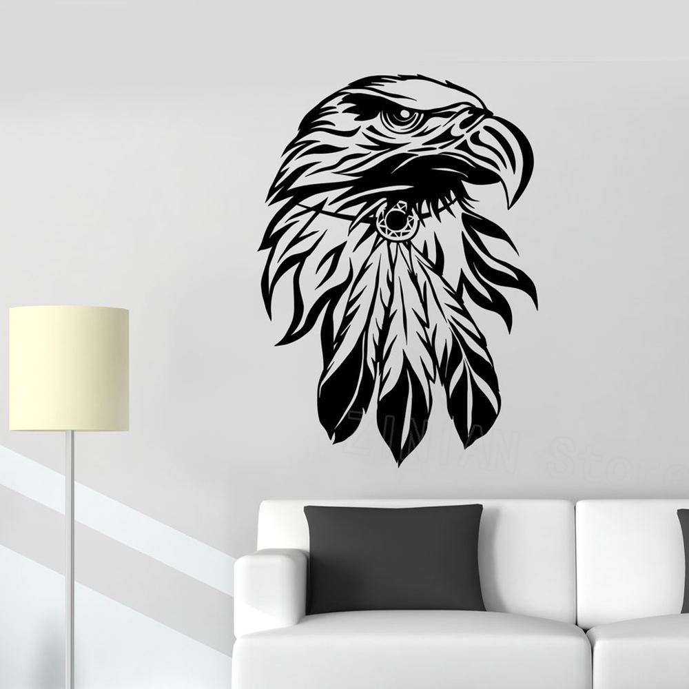 Bald Eagle Bird Head Wall Decal America Symbol Stickers Home Decor Living Room Removable Vinyl Boys Kids Room Decals Murals Z577