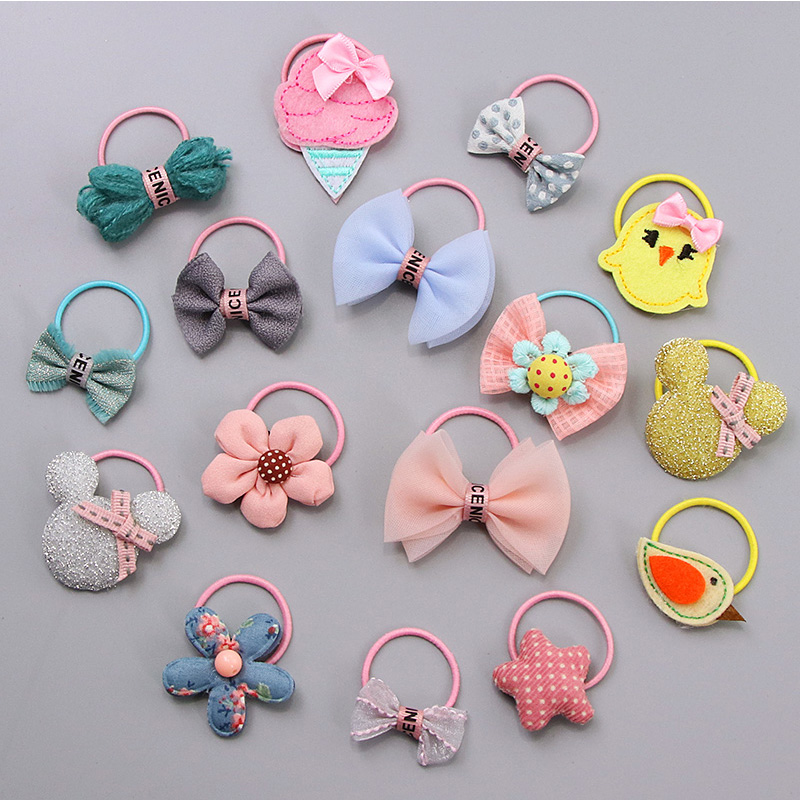 New Little Girls Cute Bow Cartoon Animal Flower Elastic Hair Bands Kids Ponytail Holder Princess Rubber Bands Hair Accessories